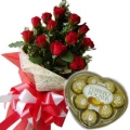 12 Red Roses Bouquet w/Heart Shape Ferrero Chocolate