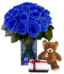 Valentines Blue Roses w/ Bear & Chocolate (VDAY)